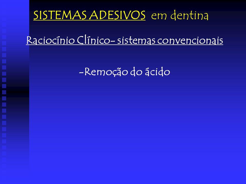 Raciocínio Clínico- sistemas convencionais -Remoção do ácido SISTEMAS ADESIVOS em dentina