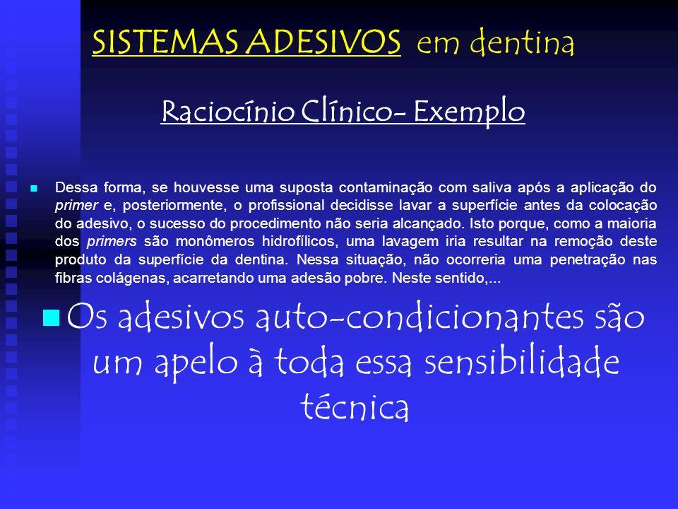 Raciocínio Clínico- Exemplo Dessa forma, se houvesse uma suposta contaminação com saliva após a aplicação do primer e, posteriormente, o profissional