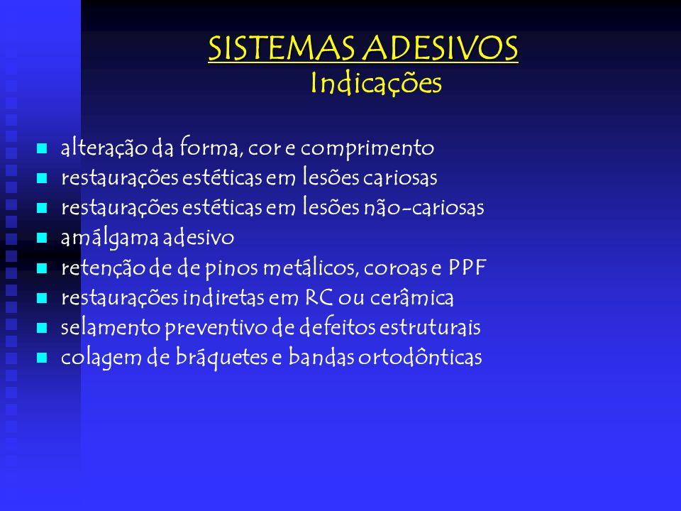 SISTEMAS ADESIVOS em esmalte Concentração do ácido Mais altas (que 40%): não recomendado (menor resistência adesiva) Mais altas (que 40%): não recomendado (menor resistência adesiva) Mais baixas (que 27%): não recomendado (formam um sal insolúvel, bloqueando a penetração da resina nas porosidades formadas pelo ácido) Mais baixas (que 27%): não recomendado (formam um sal insolúvel, bloqueando a penetração da resina nas porosidades formadas pelo ácido) (forma um sal solúvel em água, eliminável em lavagem com água) Concentração recomendada: entre 35% e 40% (forma um sal solúvel em água, eliminável em lavagem com água)