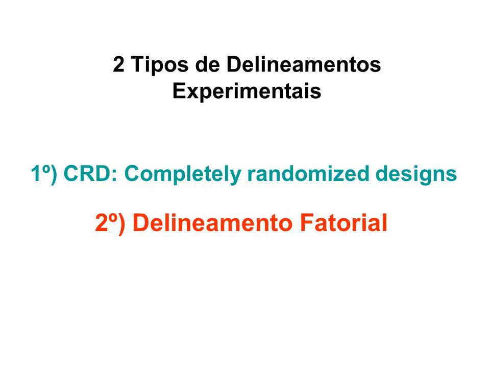 Todas as unidades experimentais são alocadas randomly entre os tratamentos.