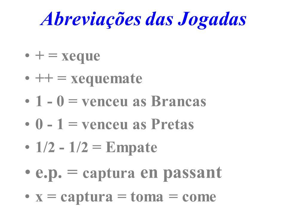 Abreviações das Jogadas + = xeque ++ = xequemate 1 - 0 = venceu as Brancas 0 - 1 = venceu as Pretas 1/ 2 - 1/ 2 = Empate e.p.