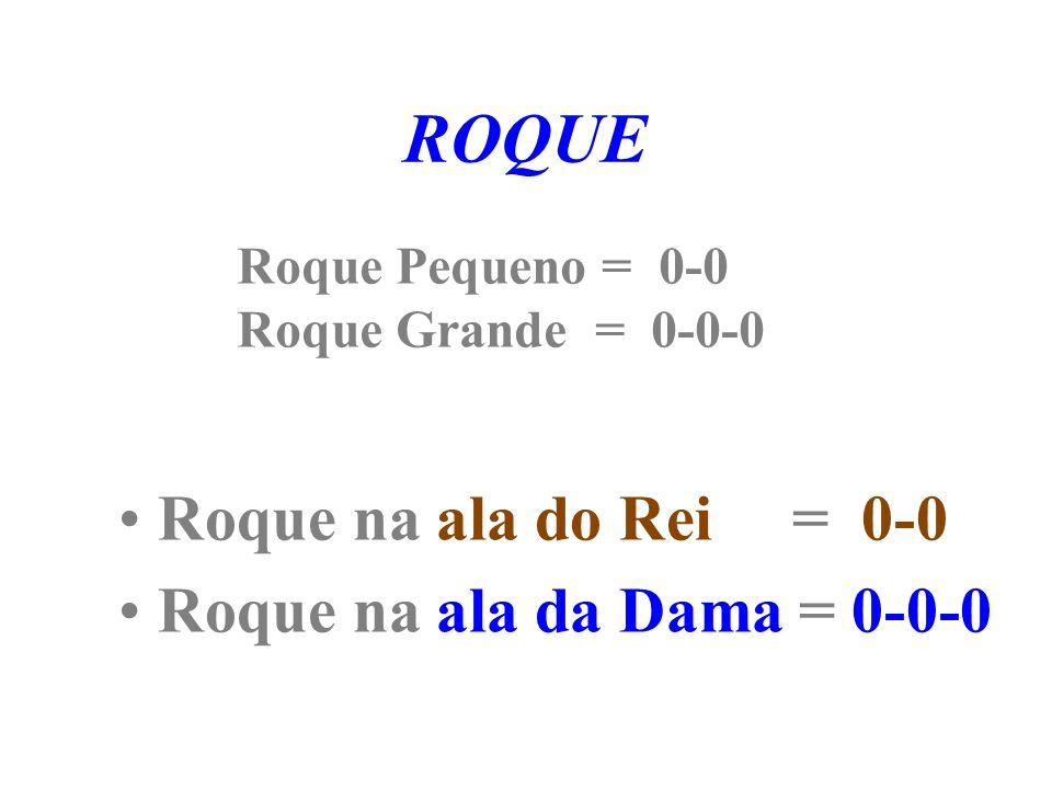 ROQUE Roque na ala do Rei = 0-0 Roque na ala da Dama = 0-0-0 Roque Pequeno = 0-0 Roque Grande = 0-0-0