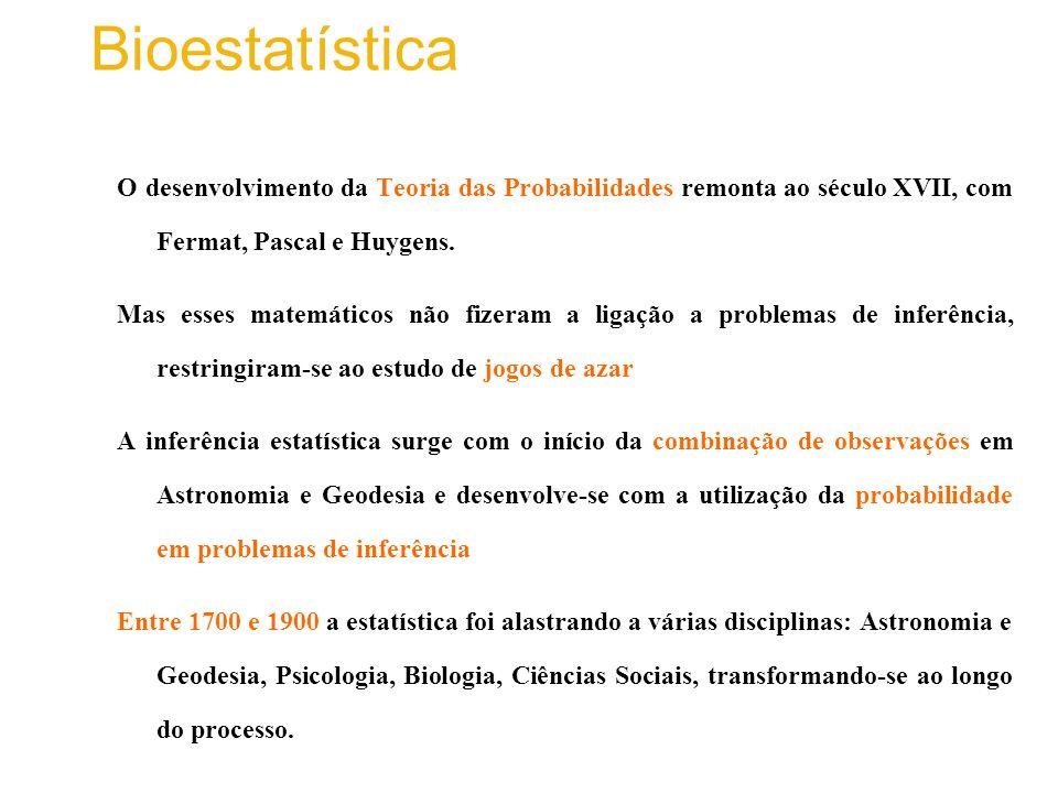 O desenvolvimento da Teoria das Probabilidades remonta ao século XVII, com Fermat, Pascal e Huygens.