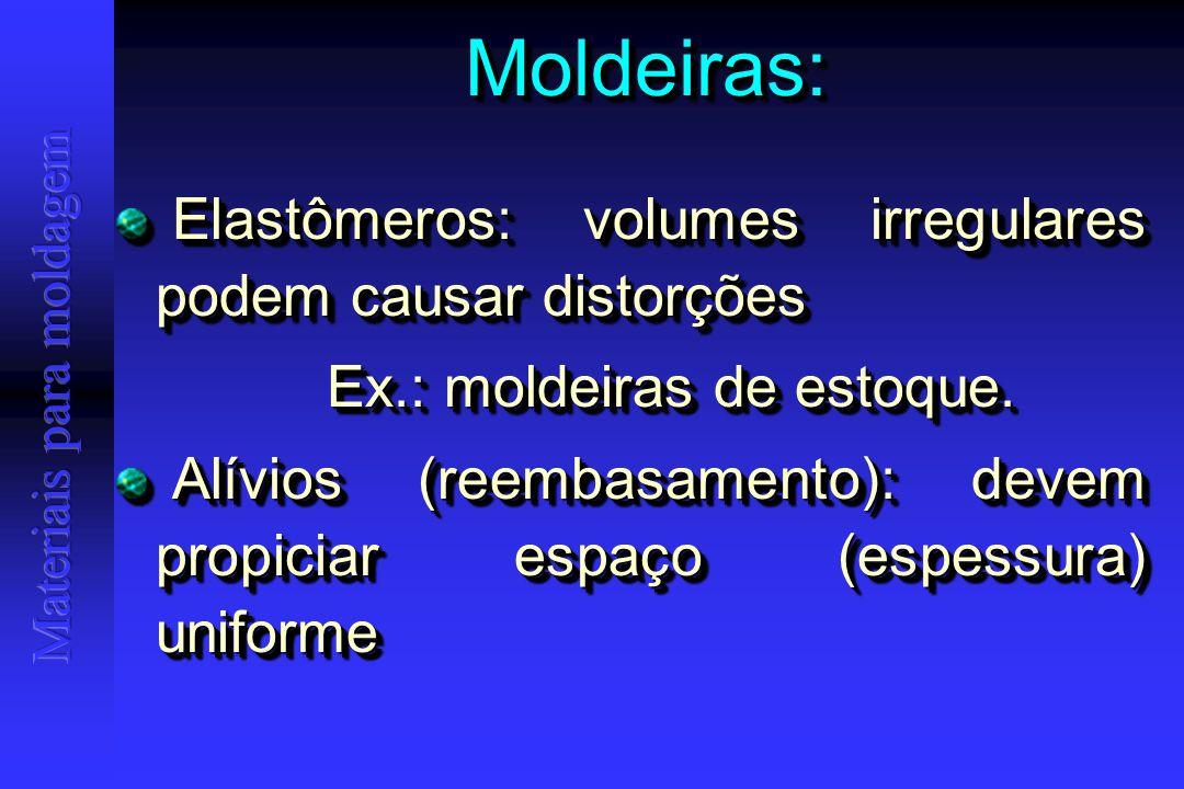 Moldeiras:Moldeiras: Elastômeros: volumes irregulares podem causar distorções Elastômeros: volumes irregulares podem causar distorções Ex.: moldeiras de estoque.