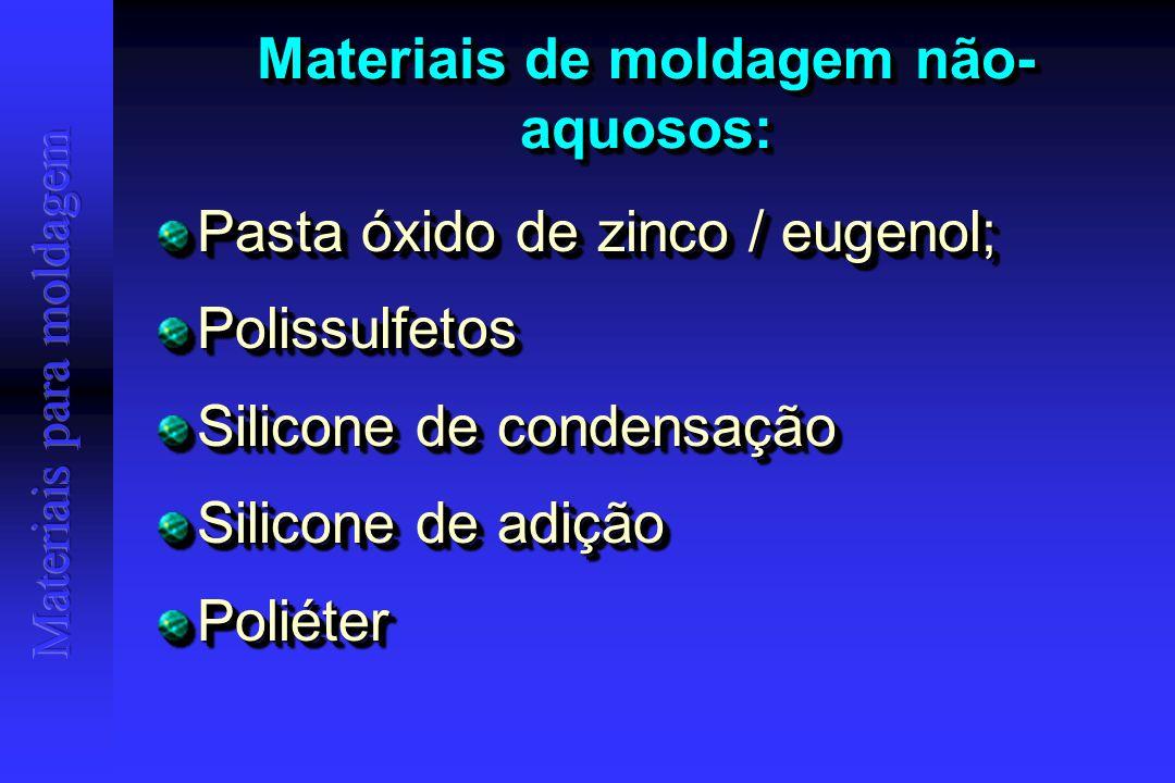 SILICONES DE CONDENSAÇÃO Evolução considerável (odor, formas de apresentação, possilidades de uso...) Evolução considerável (odor, formas de apresentação, possilidades de uso...) Fornecidos no sistema de duas pastas ou pasta/líquido; Fornecidos no sistema de duas pastas ou pasta/líquido; Disponíveis em baixa, média, alta e ultra-alta (denso) viscosidades Disponíveis em baixa, média, alta e ultra-alta (denso) viscosidades Evolução considerável (odor, formas de apresentação, possilidades de uso...) Evolução considerável (odor, formas de apresentação, possilidades de uso...) Fornecidos no sistema de duas pastas ou pasta/líquido; Fornecidos no sistema de duas pastas ou pasta/líquido; Disponíveis em baixa, média, alta e ultra-alta (denso) viscosidades Disponíveis em baixa, média, alta e ultra-alta (denso) viscosidades