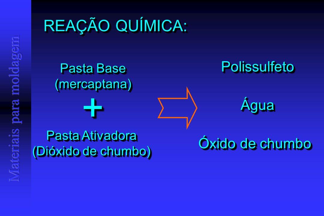 REAÇÃO QUÍMICA: Pasta Base (mercaptana) (mercaptana) Pasta Ativadora (Dióxido de chumbo) Pasta Ativadora (Dióxido de chumbo) ++ PolissulfetoPolissulfeto ÁguaÁgua Óxido de chumbo