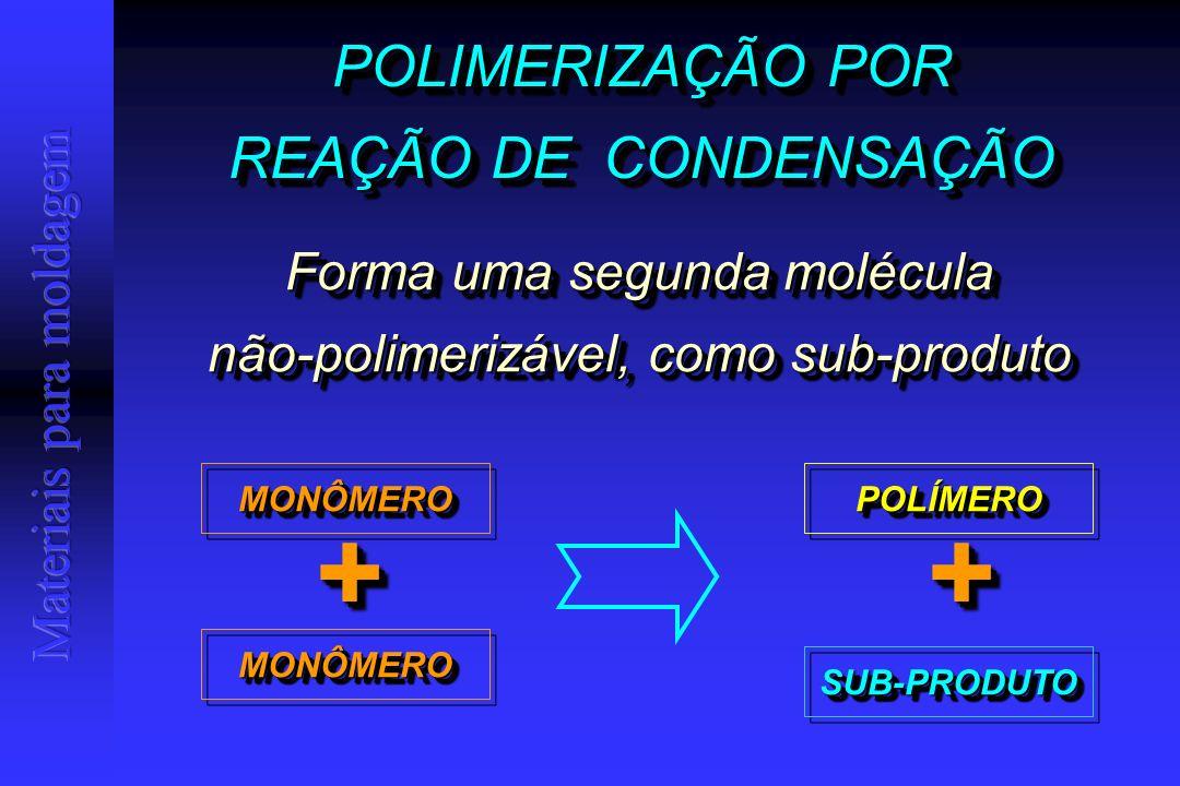 POLIMERIZAÇÃO POR REAÇÃO DE CONDENSAÇÃO POLIMERIZAÇÃO POR REAÇÃO DE CONDENSAÇÃO Forma uma segunda molécula não-polimerizável, como sub-produto Forma uma segunda molécula não-polimerizável, como sub-produto MONÔMEROMONÔMERO MONÔMEROMONÔMERO ++ POLÍMEROPOLÍMERO ++ SUB-PRODUTOSUB-PRODUTO