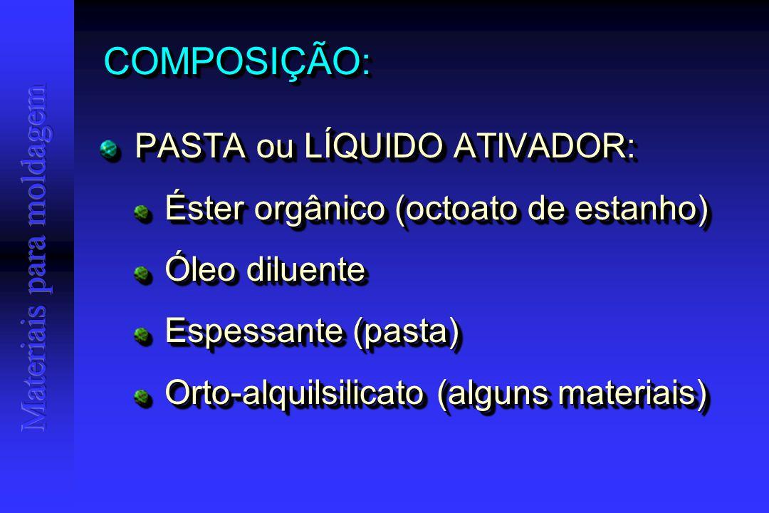 COMPOSIÇÃO:COMPOSIÇÃO: PASTA ou LÍQUIDO ATIVADOR: PASTA ou LÍQUIDO ATIVADOR: Éster orgânico (octoato de estanho) Éster orgânico (octoato de estanho) Óleo diluente Óleo diluente Espessante (pasta) Espessante (pasta) Orto-alquilsilicato (alguns materiais) Orto-alquilsilicato (alguns materiais) PASTA ou LÍQUIDO ATIVADOR: PASTA ou LÍQUIDO ATIVADOR: Éster orgânico (octoato de estanho) Éster orgânico (octoato de estanho) Óleo diluente Óleo diluente Espessante (pasta) Espessante (pasta) Orto-alquilsilicato (alguns materiais) Orto-alquilsilicato (alguns materiais)
