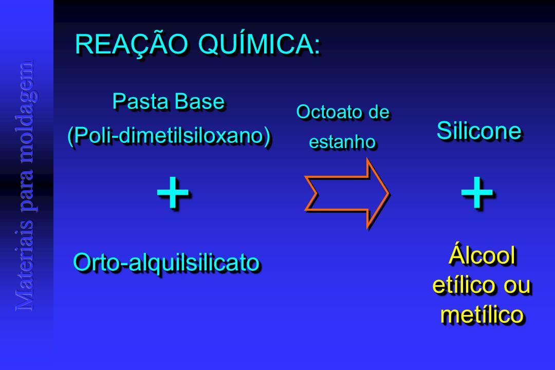 REAÇÃO QUÍMICA: Pasta Base (Poli-dimetilsiloxano) (Poli-dimetilsiloxano) Orto-alquilsilicatoOrto-alquilsilicato ++ SiliconeSilicone Álcool etílico ou metílico Octoato de estanho ++
