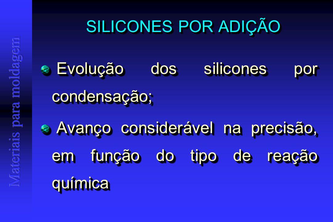 SILICONES POR ADIÇÃO Evolução dos silicones por condensação; Evolução dos silicones por condensação; Avanço considerável na precisão, em função do tipo de reação química Avanço considerável na precisão, em função do tipo de reação química Evolução dos silicones por condensação; Evolução dos silicones por condensação; Avanço considerável na precisão, em função do tipo de reação química Avanço considerável na precisão, em função do tipo de reação química
