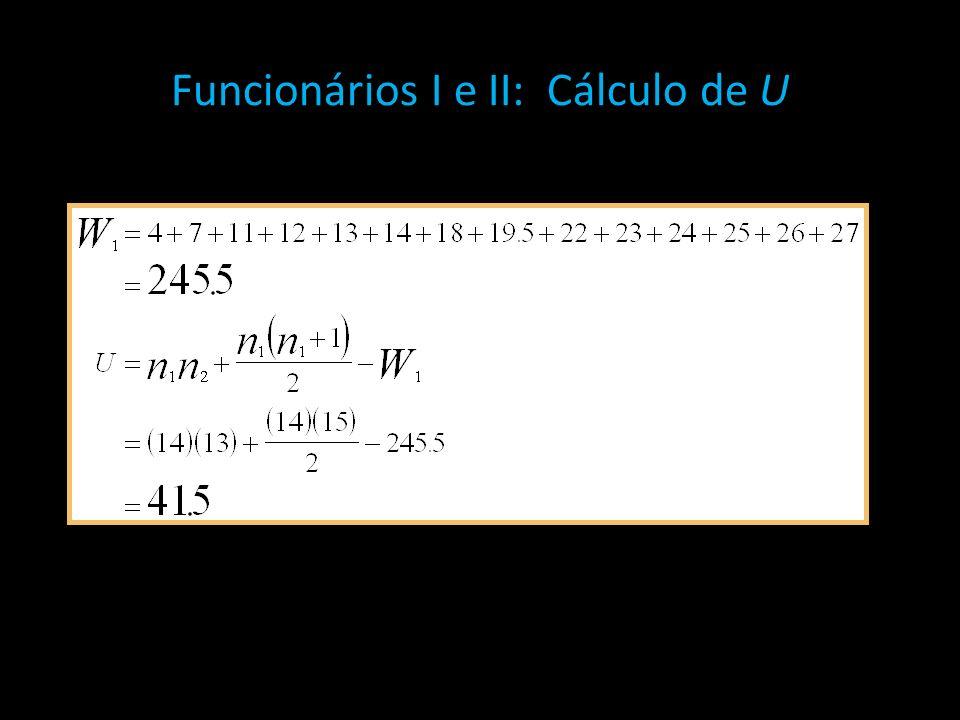 Funcionários I e II: Cálculo de U