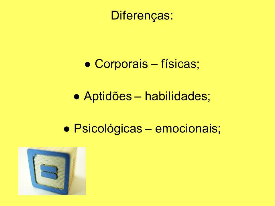 Diferenças: Corporais – físicas; Aptidões – habilidades; Psicológicas – emocionais;