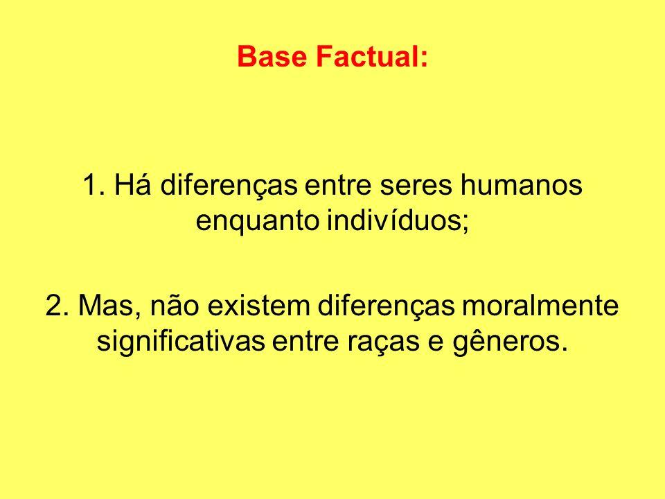 Base Factual: 1. Há diferenças entre seres humanos enquanto indivíduos; 2. Mas, não existem diferenças moralmente significativas entre raças e gêneros