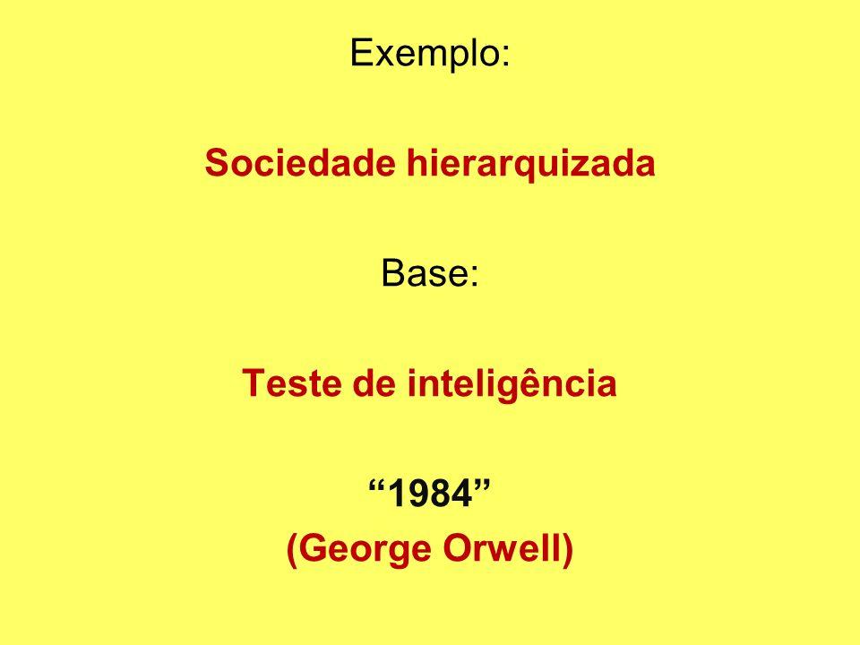 Exemplo: Sociedade hierarquizada Base: Teste de inteligência 1984 (George Orwell)