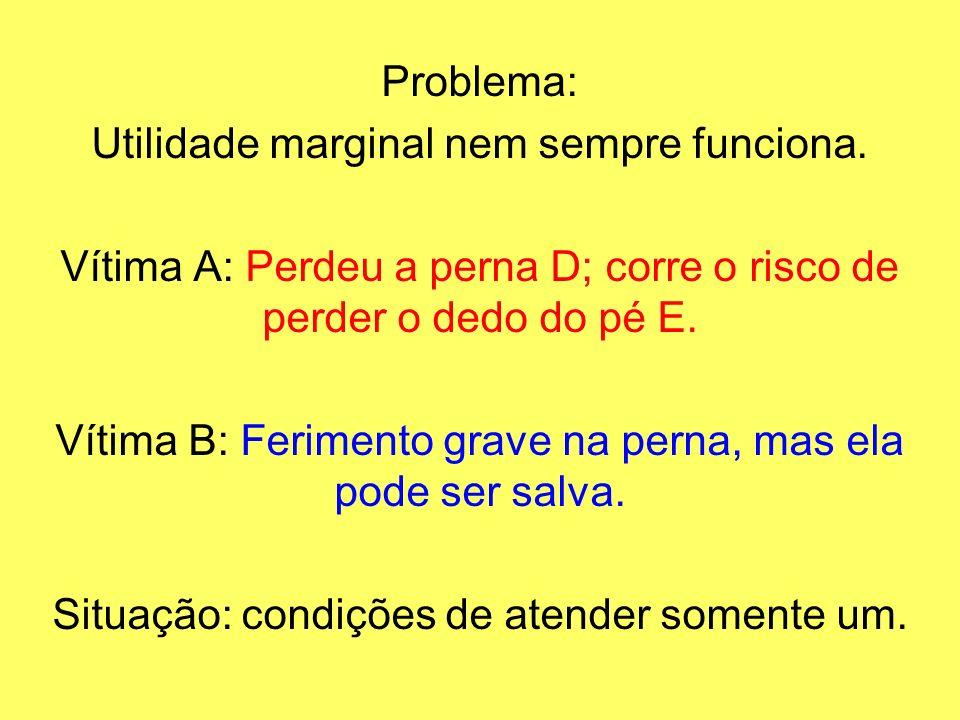 Problema: Utilidade marginal nem sempre funciona. Vítima A: Perdeu a perna D; corre o risco de perder o dedo do pé E. Vítima B: Ferimento grave na per