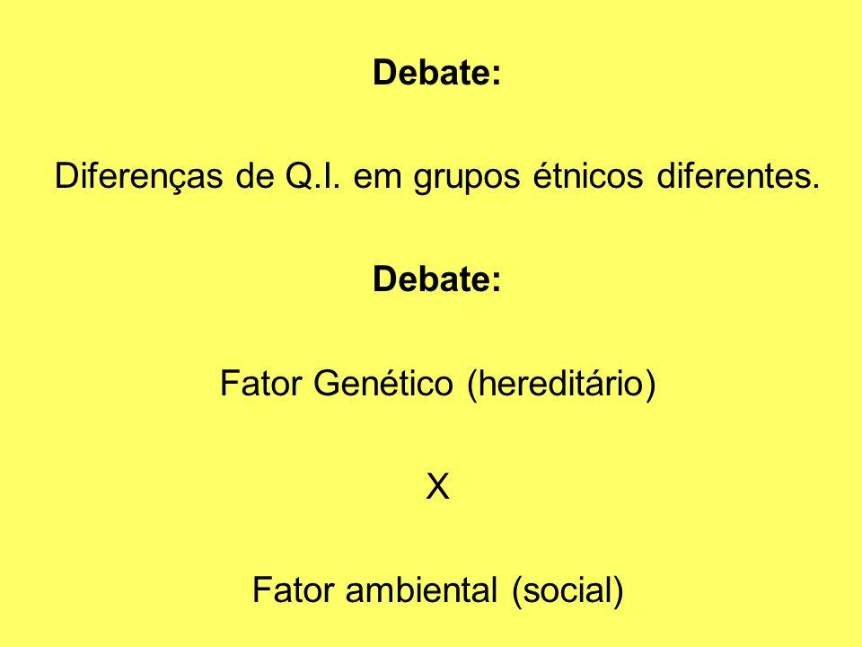Debate: Diferenças de Q.I. em grupos étnicos diferentes. Debate: Fator Genético (hereditário) X Fator ambiental (social)
