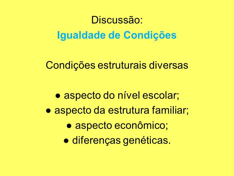 Discussão: Igualdade de Condições Condições estruturais diversas aspecto do nível escolar; aspecto da estrutura familiar; aspecto econômico; diferença