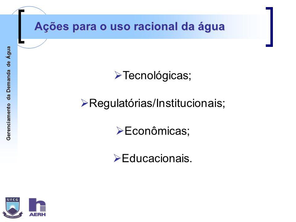 Gerenciamento da Demanda de Água Ações para o uso racional da água Tecnológicas; Regulatórias/Institucionais; Econômicas; Educacionais.