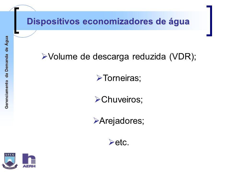 Gerenciamento da Demanda de Água Dispositivos economizadores de água Volume de descarga reduzida (VDR); Torneiras; Chuveiros; Arejadores; etc.
