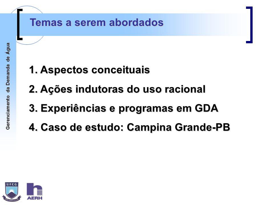 Gerenciamento da Demanda de Água 1. Aspectos conceituais 2. Ações indutoras do uso racional 3. Experiências e programas em GDA 4. Caso de estudo: Camp
