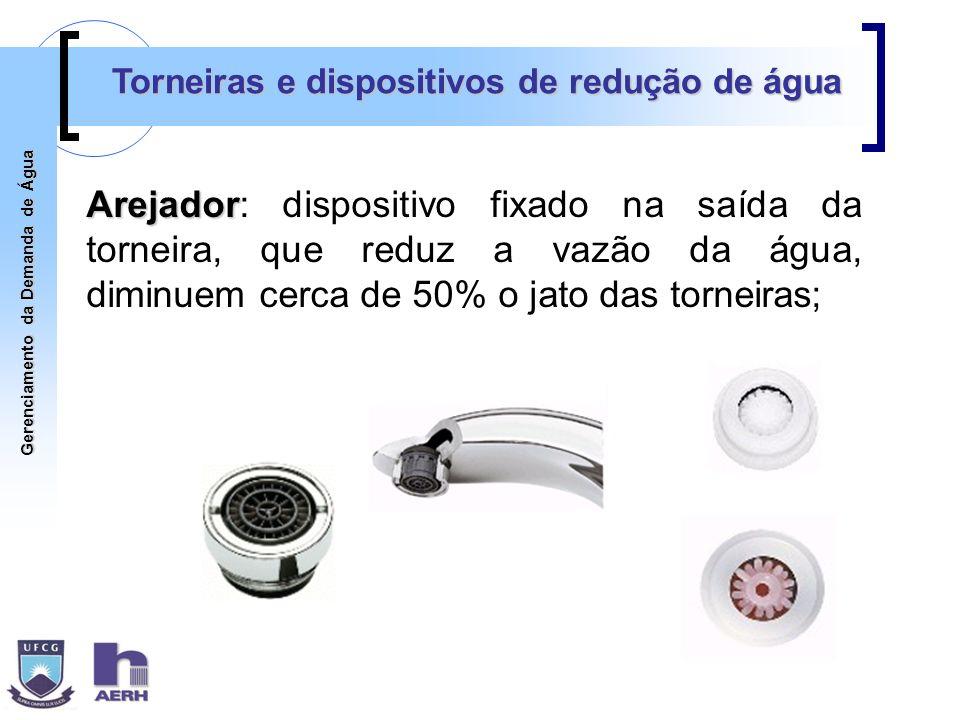 Gerenciamento da Demanda de Água Torneiras e dispositivos de redução de água Arejador Arejador: dispositivo fixado na saída da torneira, que reduz a v