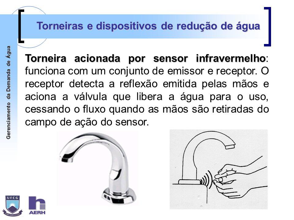 Gerenciamento da Demanda de Água Torneiras e dispositivos de redução de água Torneira acionada por sensor infravermelho Torneira acionada por sensor i