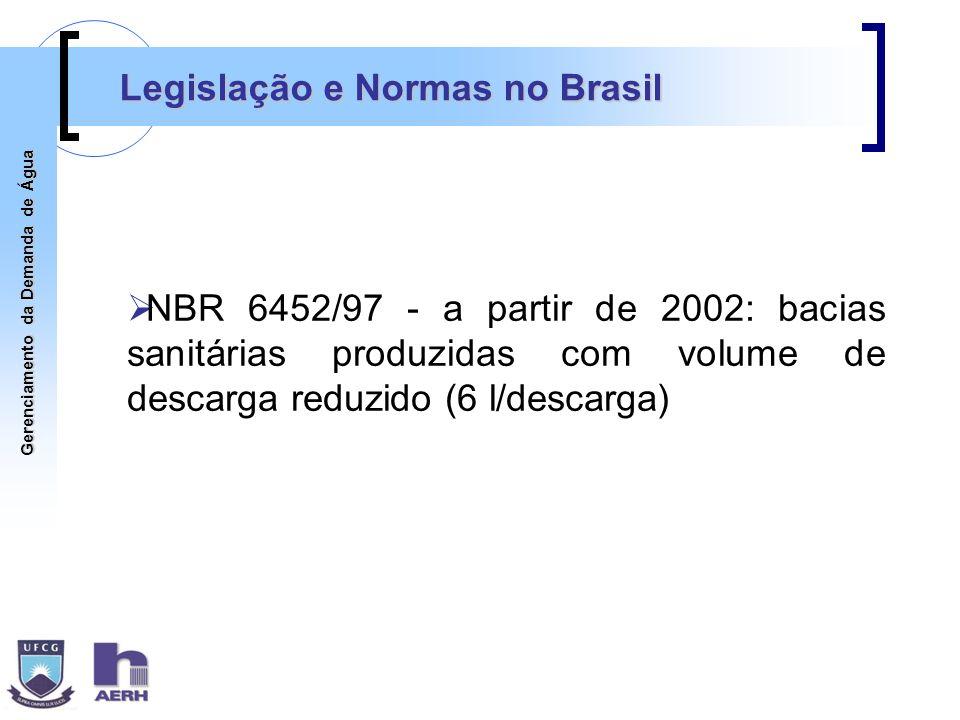 Gerenciamento da Demanda de Água Legislação e Normas no Brasil NBR 6452/97 - a partir de 2002: bacias sanitárias produzidas com volume de descarga red