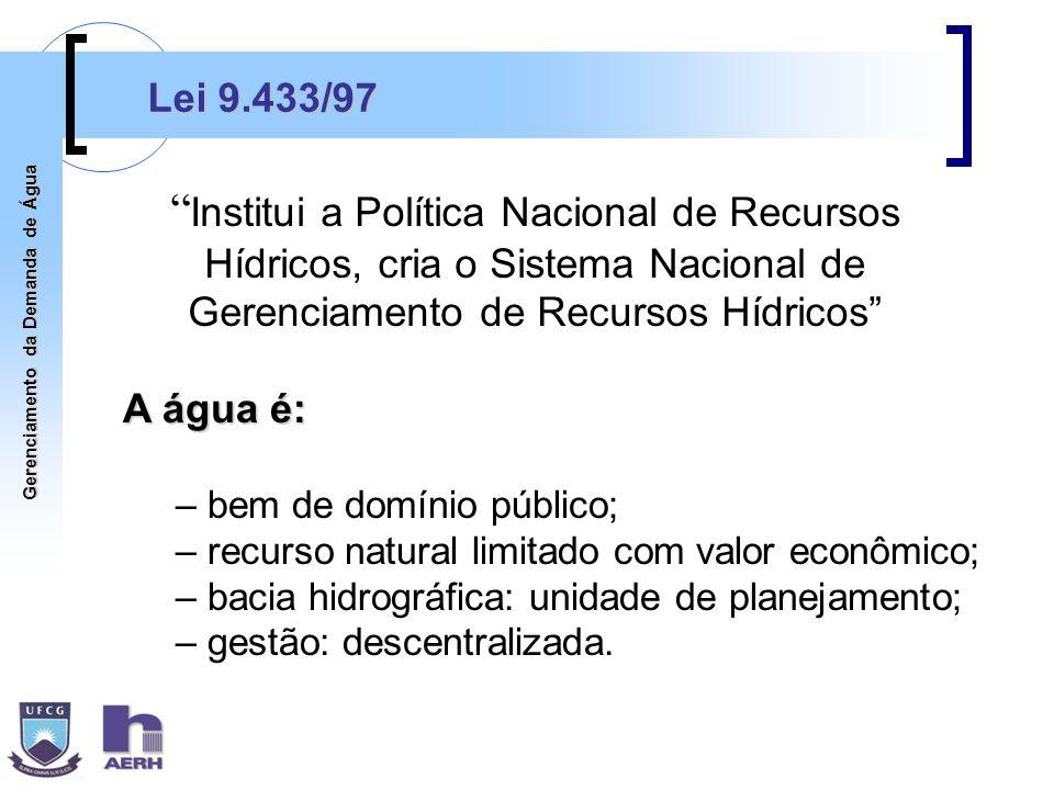 Gerenciamento da Demanda de Água Lei 9.433/97 Institui a Política Nacional de Recursos Hídricos, cria o Sistema Nacional de Gerenciamento de Recursos