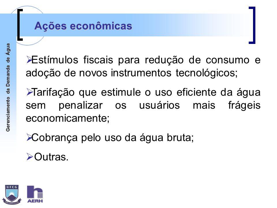 Gerenciamento da Demanda de Água Ações econômicas Estímulos fiscais para redução de consumo e adoção de novos instrumentos tecnológicos; Tarifação que