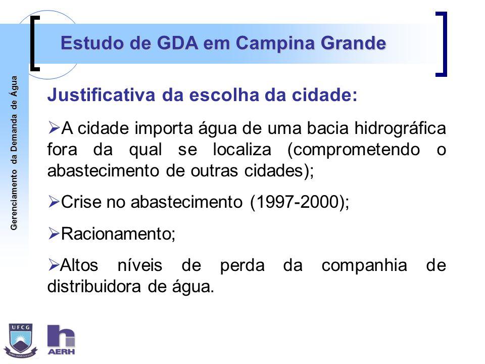 Gerenciamento da Demanda de Água Estudo de GDA em Campina Grande Justificativa da escolha da cidade: A cidade importa água de uma bacia hidrográfica f