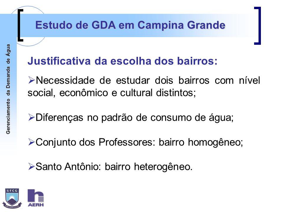 Gerenciamento da Demanda de Água Estudo de GDA em Campina Grande Justificativa da escolha dos bairros: Necessidade de estudar dois bairros com nível s