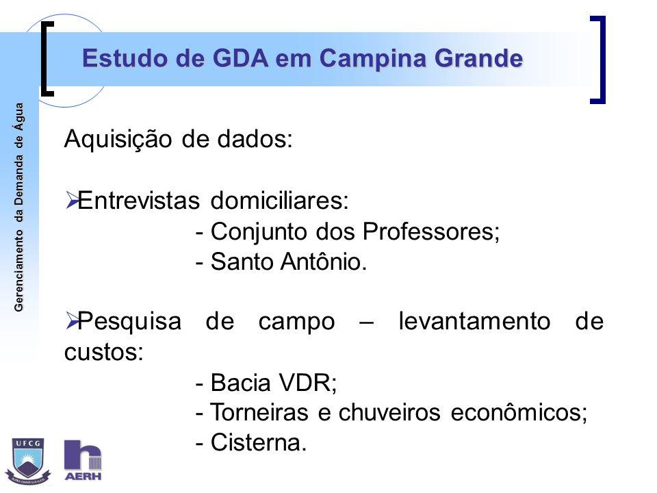 Gerenciamento da Demanda de Água Estudo de GDA em Campina Grande Aquisição de dados: Entrevistas domiciliares: - Conjunto dos Professores; - Santo Ant