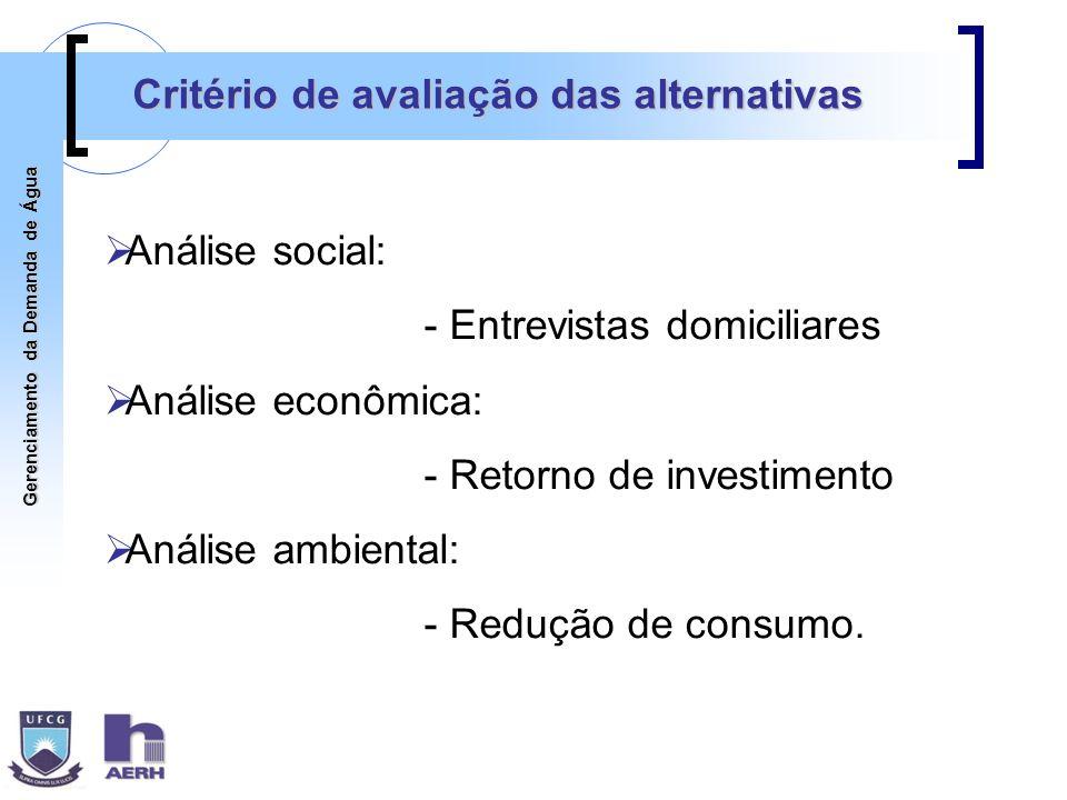 Gerenciamento da Demanda de Água Critério de avaliação das alternativas Análise social: - Entrevistas domiciliares Análise econômica: - Retorno de inv