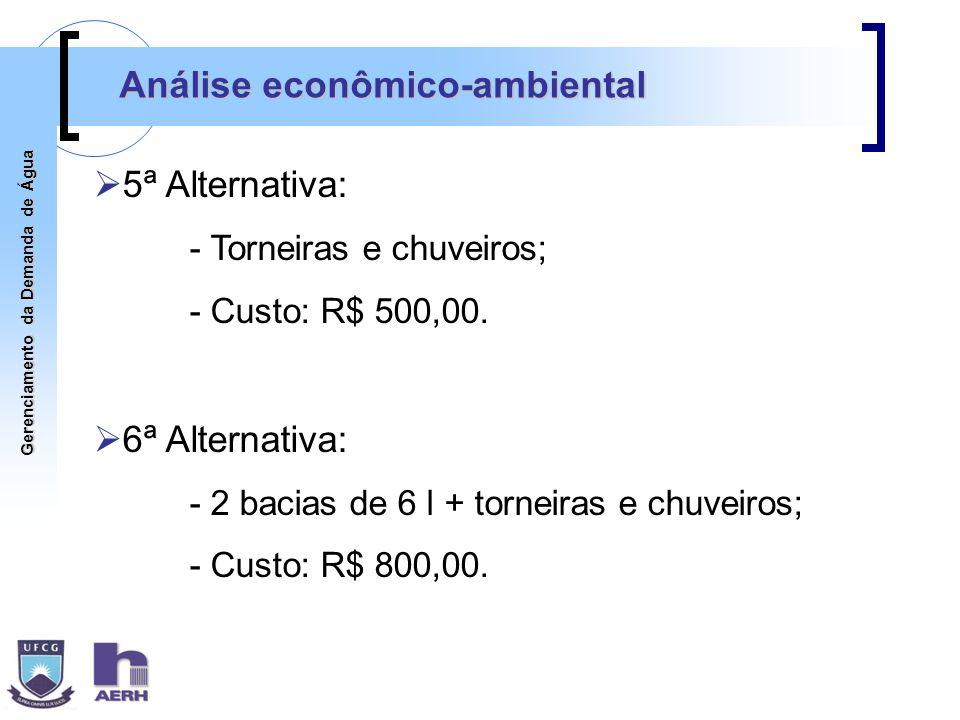 Gerenciamento da Demanda de Água Análise econômico-ambiental 5ª Alternativa: - Torneiras e chuveiros; - Custo: R$ 500,00. 6ª Alternativa: - 2 bacias d