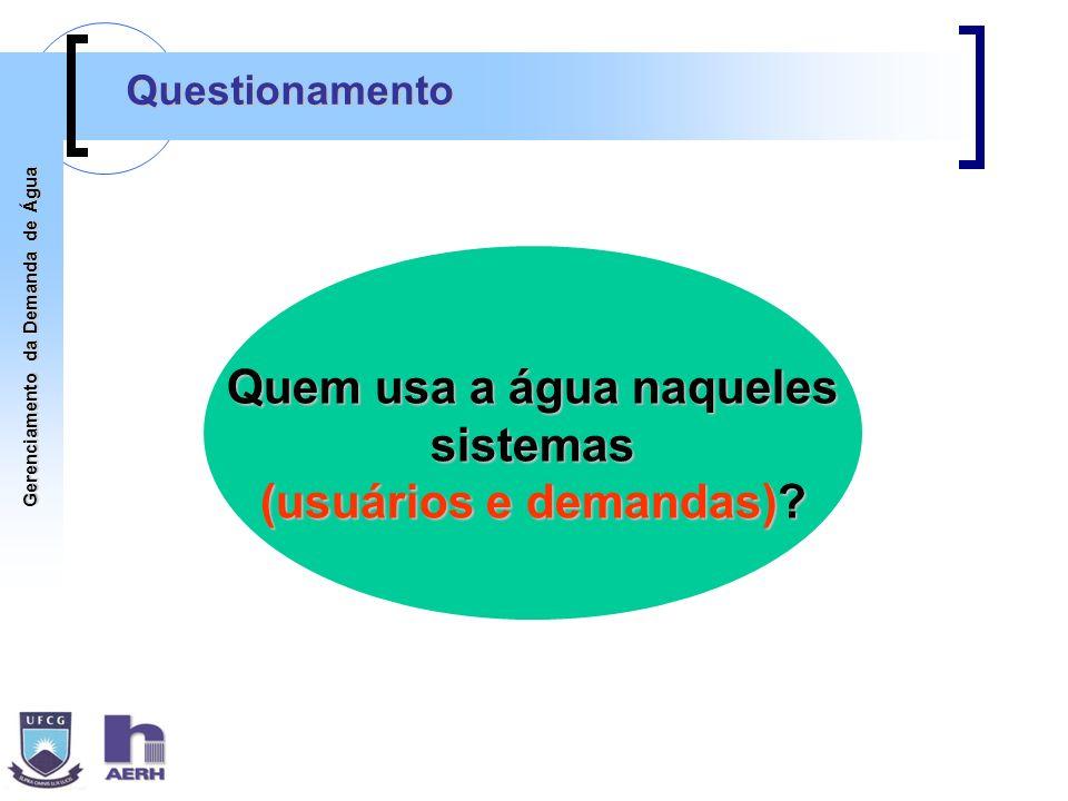 Gerenciamento da Demanda de Água Quem usa a água naqueles sistemas (usuários e demandas)? Questionamento