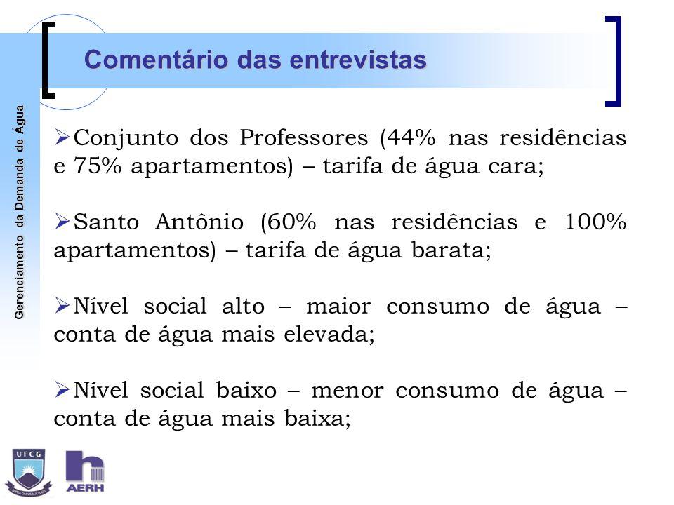 Gerenciamento da Demanda de Água Comentário das entrevistas Conjunto dos Professores (44% nas residências e 75% apartamentos) – tarifa de água cara; S
