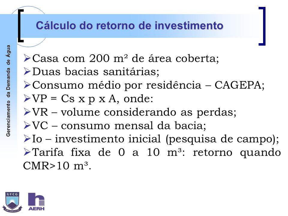 Gerenciamento da Demanda de Água Cálculo do retorno de investimento Casa com 200 m² de área coberta; Duas bacias sanitárias; Consumo médio por residên