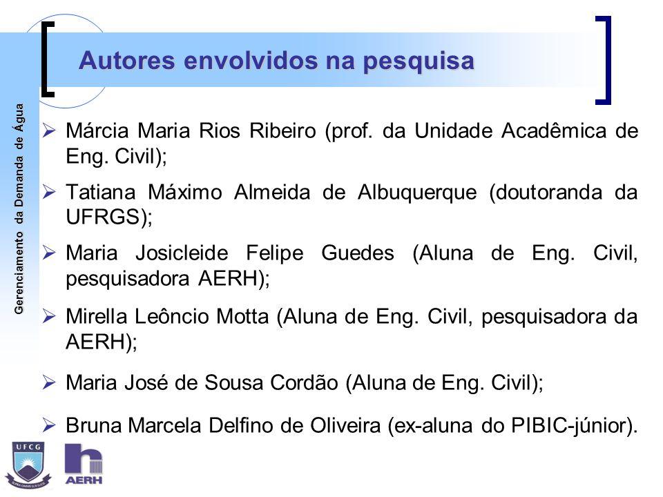 Gerenciamento da Demanda de Água Autores envolvidos na pesquisa Márcia Maria Rios Ribeiro (prof. da Unidade Acadêmica de Eng. Civil); Tatiana Máximo A