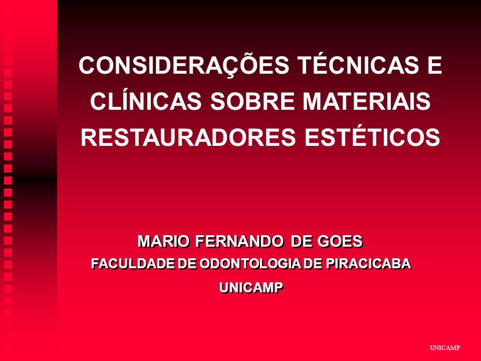 UNICAMP CONSIDERAÇÕES TÉCNICAS E CLÍNICAS SOBRE MATERIAIS RESTAURADORES ESTÉTICOS MARIO FERNANDO DE GOES FACULDADE DE ODONTOLOGIA DE PIRACICABA UNICAM