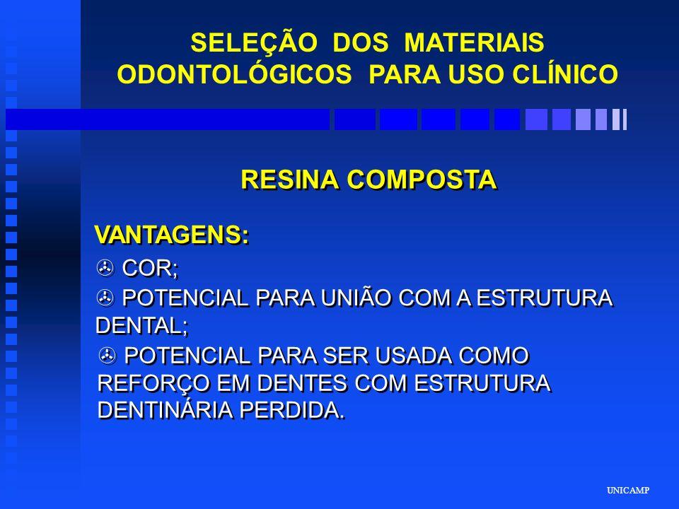 UNICAMP SELEÇÃO DOS MATERIAIS ODONTOLÓGICOS PARA USO CLÍNICO RESINA COMPOSTA VANTAGENS: > COR; > POTENCIAL PARA UNIÃO COM A ESTRUTURA DENTAL; > POTENC