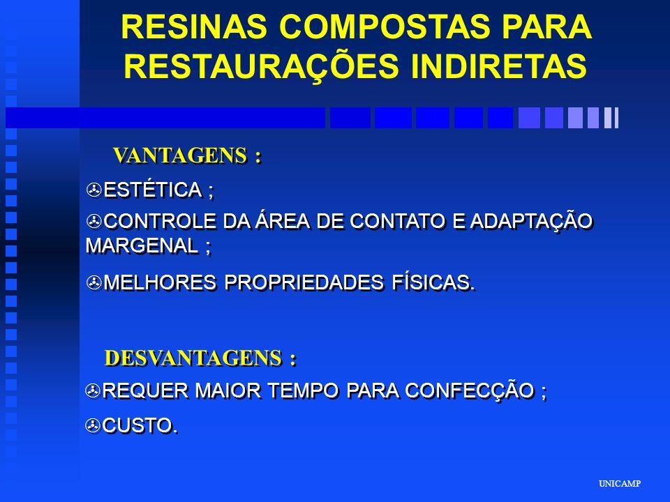 UNICAMP RESINAS COMPOSTAS PARA RESTAURAÇÕES INDIRETAS VANTAGENS : >ESTÉTICA ; >CONTROLE DA ÁREA DE CONTATO E ADAPTAÇÃO MARGENAL ; >MELHORES PROPRIEDAD