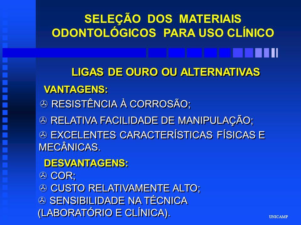 UNICAMP SELEÇÃO DOS MATERIAIS ODONTOLÓGICOS PARA USO CLÍNICO AMÁLGAMA DE PRATA VANTAGENS: > MATERIAL DE ESCOLHA PARA DENTES POSTERIORES; > USO RELATIVAMENTE SIMPLES; > TOLERÂNCIA NAS VARIAÇÕES DE MANIPULAÇÃO; DESVANTAGENS: > MATERIAL NÃO ESTÉTICO; > A CORROSÃO PODE CAUSAR MANCHAMENTO E FRATURA MARGINAL; > NÃO APRESENTA ADESÃO À ESTRUTURA DENTAL; > LONGEVIDADE CLÍNICA > BAIXO CUSTO.