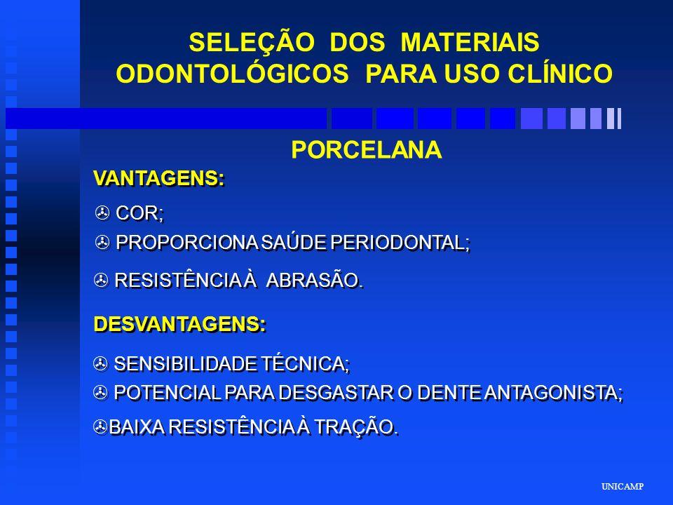 UNICAMP SELEÇÃO DOS MATERIAIS ODONTOLÓGICOS PARA USO CLÍNICO PORCELANA VANTAGENS: DESVANTAGENS: > COR; > PROPORCIONA SAÚDE PERIODONTAL; > RESISTÊNCIA