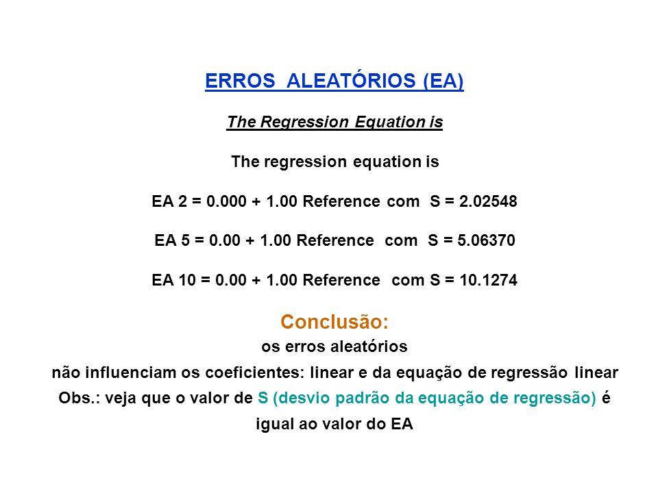 ERROS ALEATÓRIOS (EA) The Regression Equation is The regression equation is EA 2 = 0.000 + 1.00 Reference com S = 2.02548 EA 5 = 0.00 + 1.00 Reference com S = 5.06370 EA 10 = 0.00 + 1.00 Reference com S = 10.1274 Conclusão: os erros aleatórios não influenciam os coeficientes: linear e da equação de regressão linear Obs.: veja que o valor de S (desvio padrão da equação de regressão) é igual ao valor do EA