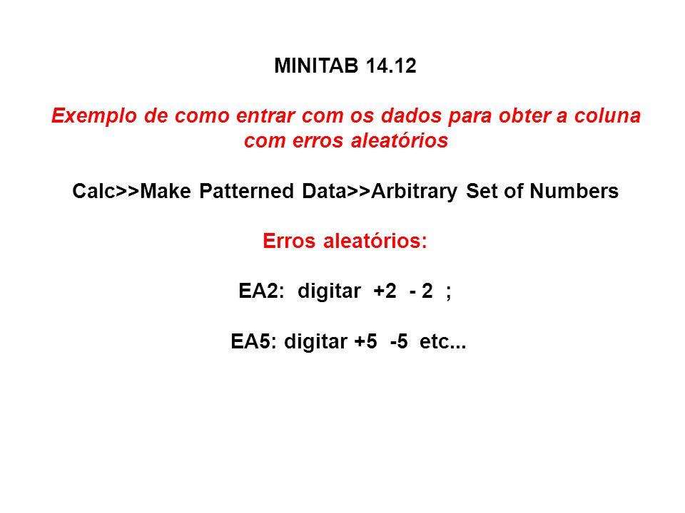 MINITAB 14.12 Exemplo de como entrar com os dados para obter a coluna com erros aleatórios Calc>>Make Patterned Data>>Arbitrary Set of Numbers Erros aleatórios: EA2: digitar +2 - 2 ; EA5: digitar +5 -5 etc...