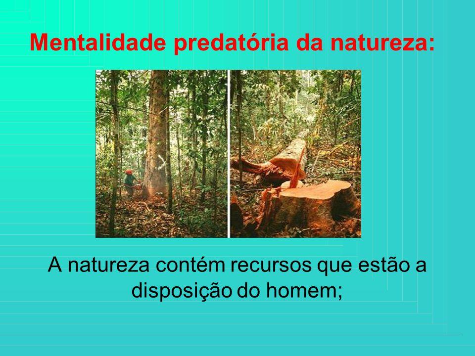 A natureza contém recursos que estão a disposição do homem; Mentalidade predatória da natureza: