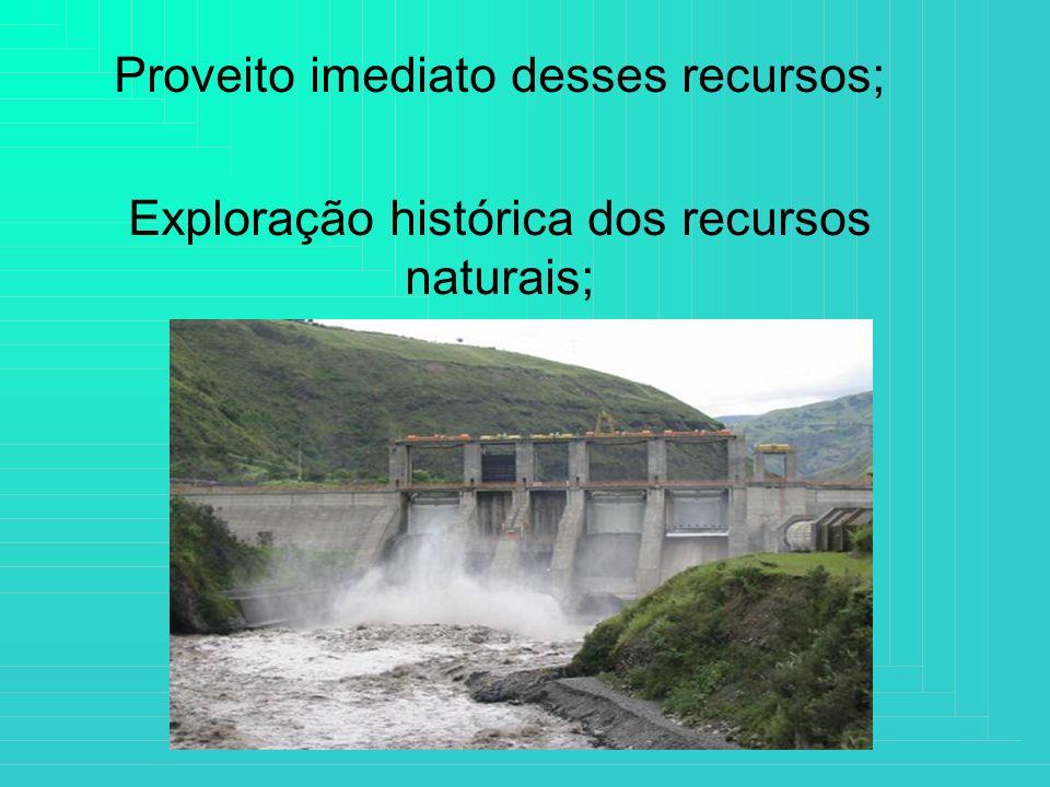 Proveito imediato desses recursos; Exploração histórica dos recursos naturais;