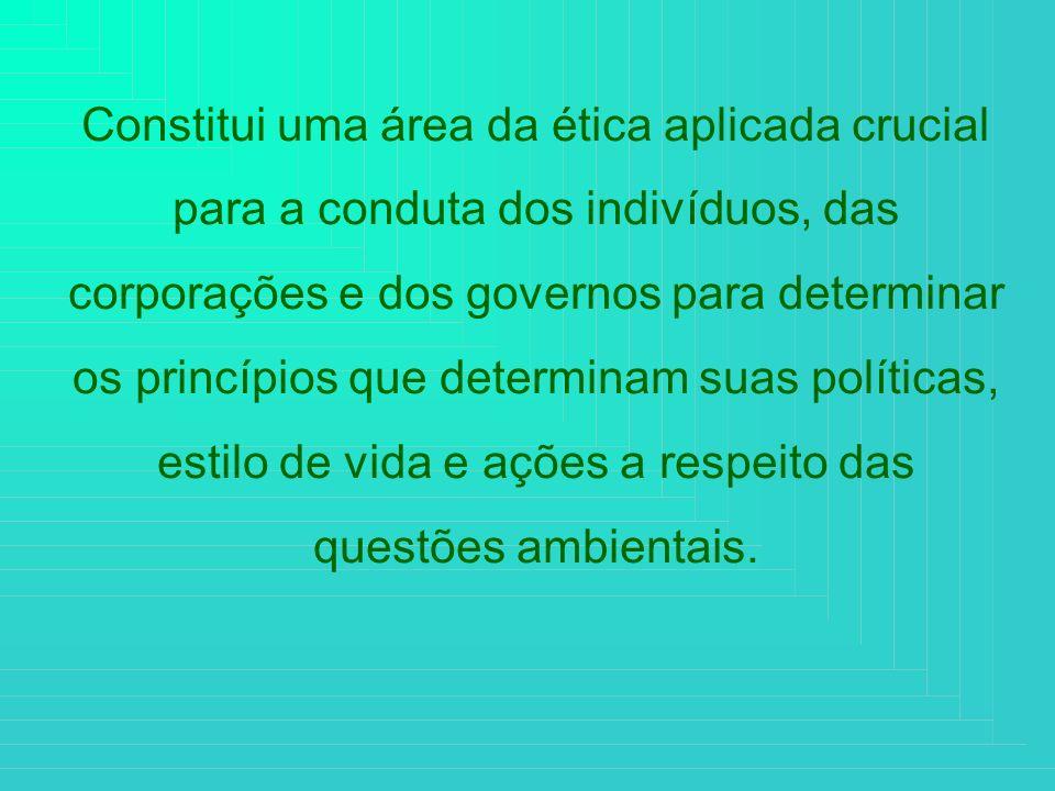 Constitui uma área da ética aplicada crucial para a conduta dos indivíduos, das corporações e dos governos para determinar os princípios que determina