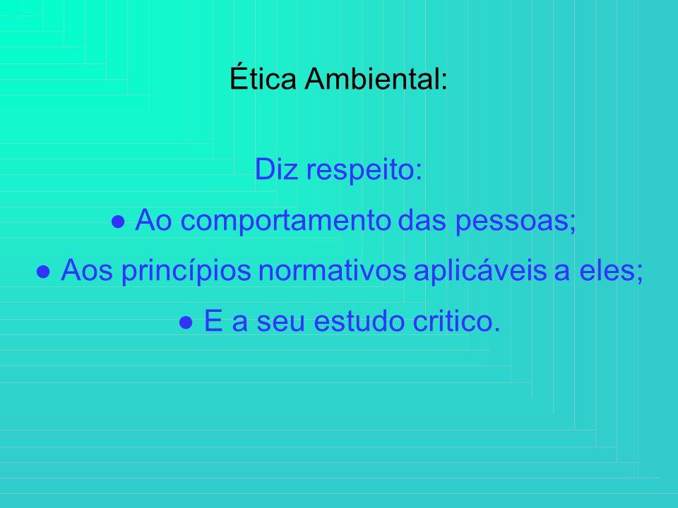 Ética Ambiental: Diz respeito: Ao comportamento das pessoas; Aos princípios normativos aplicáveis a eles; E a seu estudo critico.