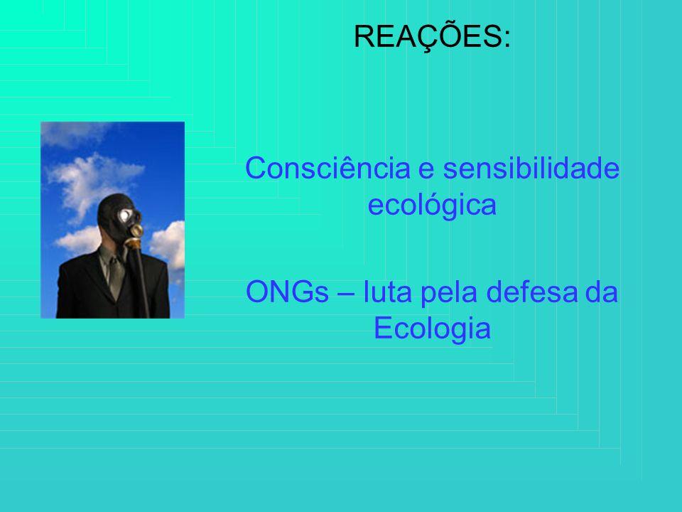 REAÇÕES: Consciência e sensibilidade ecológica ONGs – luta pela defesa da Ecologia
